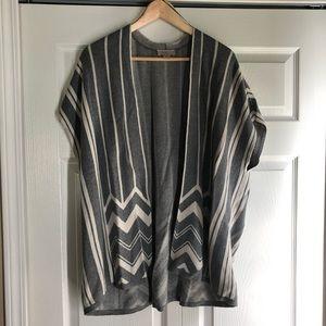 LOFT Grey Stripe Pattern Cardigan Poncho XS / S